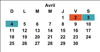 Calendrier 20-21 Avril