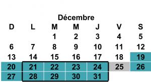 Calendrier 20-21 décembre, maj 11 décembre